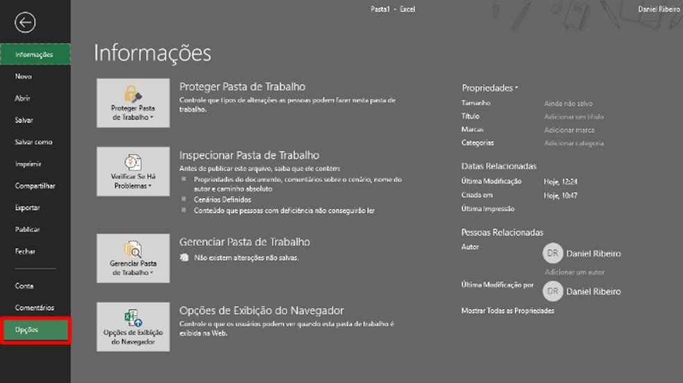 """Na aba """"Arquivo"""", aperte em """"Opções"""" (Foto: Reprodução/Daniel Ribeiro)"""