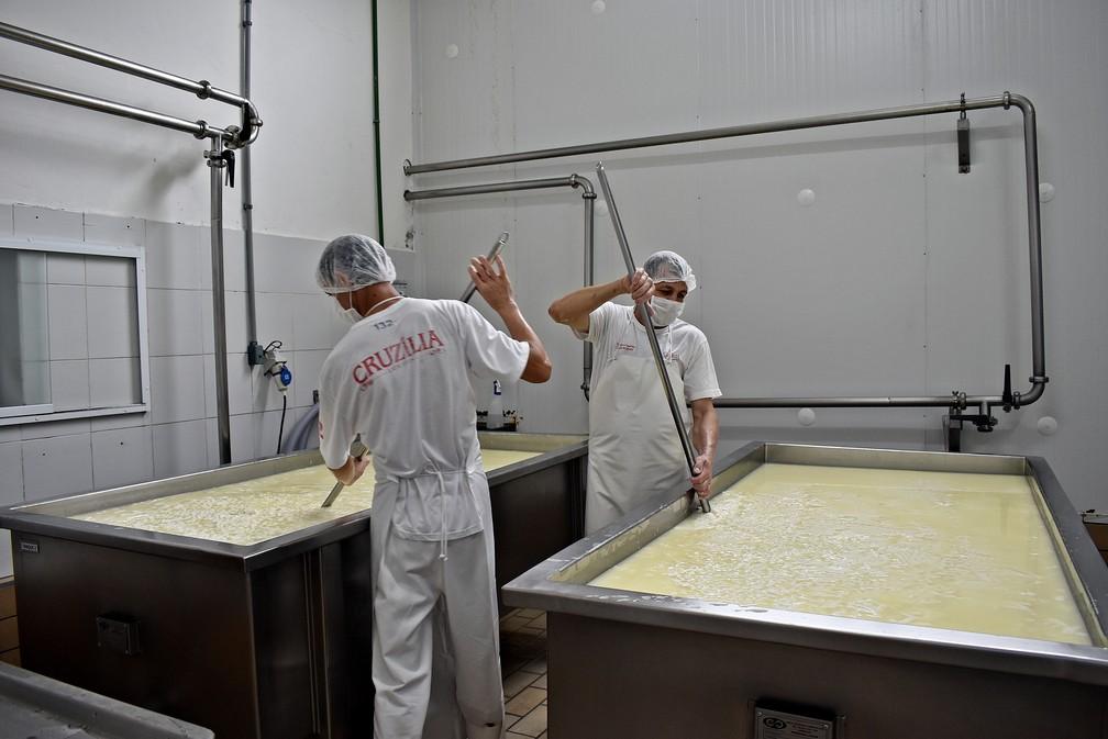 Queijeiros acompanham etapa de produção do queijo em Cruzília (MG) — Foto: Fernanda Rodrigues/G1