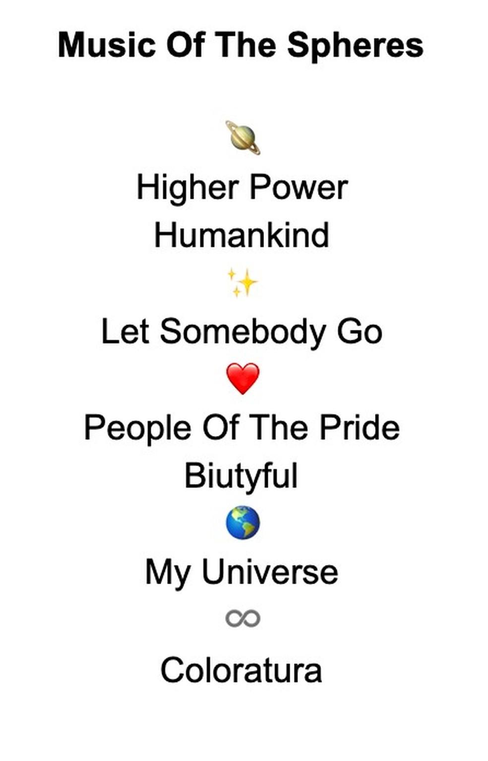 O tracklist do nono álbum do Coldplay — Foto: Divulgação