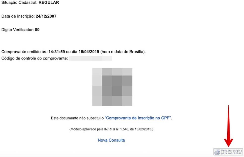 Imprimindo relatório de situação do CPF — Foto: Reprodução/Helito Beggiora