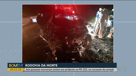 Seis pessoas morrem em um acidente na PR-323