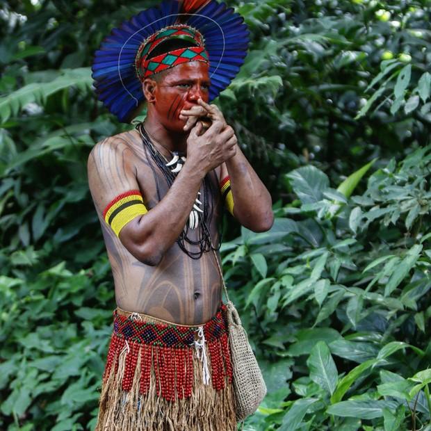 Evento de Dia do Índio no Parque Lage, no Rio de Janeiro (Foto: Fred Pontes / Divulgação)