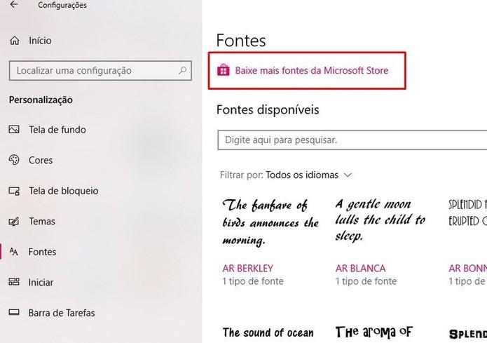 Clique no link para acessar a Windows Store (Foto: Reprodução/Taysa Coelho)