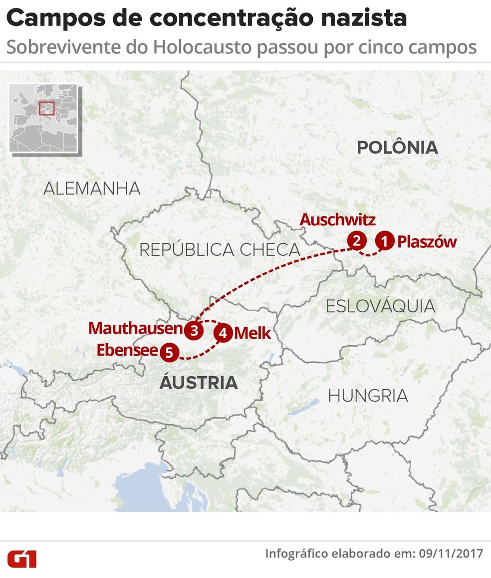 Mapa mostra os campos de concentração pelos quais o polonês Julio Gartner passou durante a Segunda Guerra (Foto: Betta Jaworski/G1)