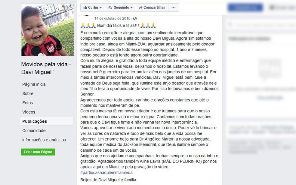 Post feito pela família em rede social afirma que Davi Miguel deixou fila de transplante nos EUA — Foto: Reprodução/Facebook