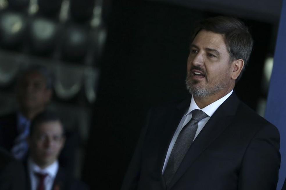 O diretor-geral da PolA�cia Federal, Fernando Segovia, na solenidade em que tomou posse no cargo, em novembro de 2017 (Foto: JosA� Cruz / AgA?ncia Brasil)