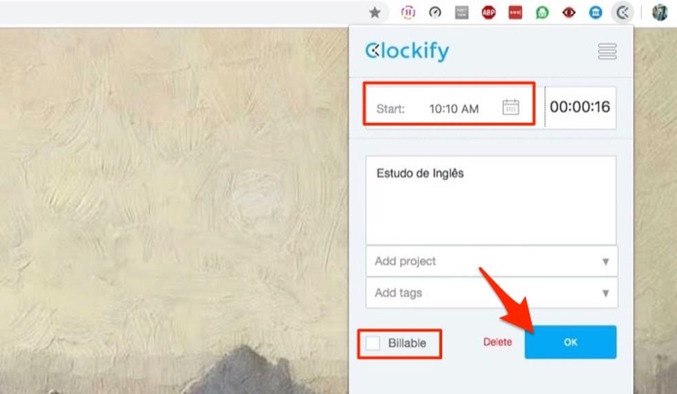 Ação para definir detalhes de uma atividade que será registrada pela extensão Clockify Time Tracker — Foto: Reprodução/Marvin Costa