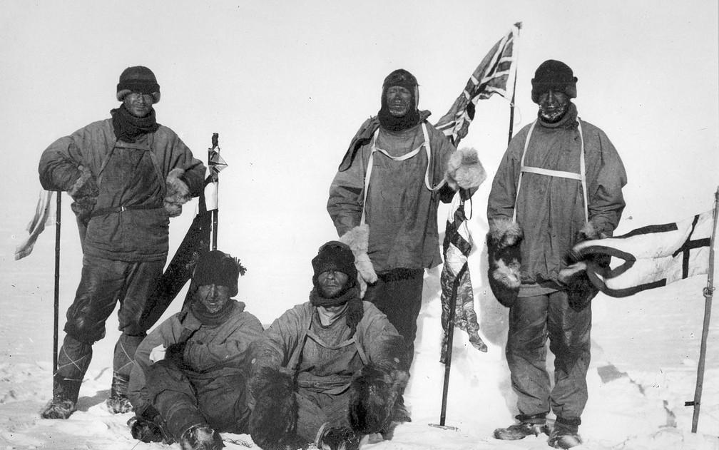 Expedição Terra Nova pretendia ser a primeira a chegar ao Polo Sul — Foto: Henry Bowers/Public Domain