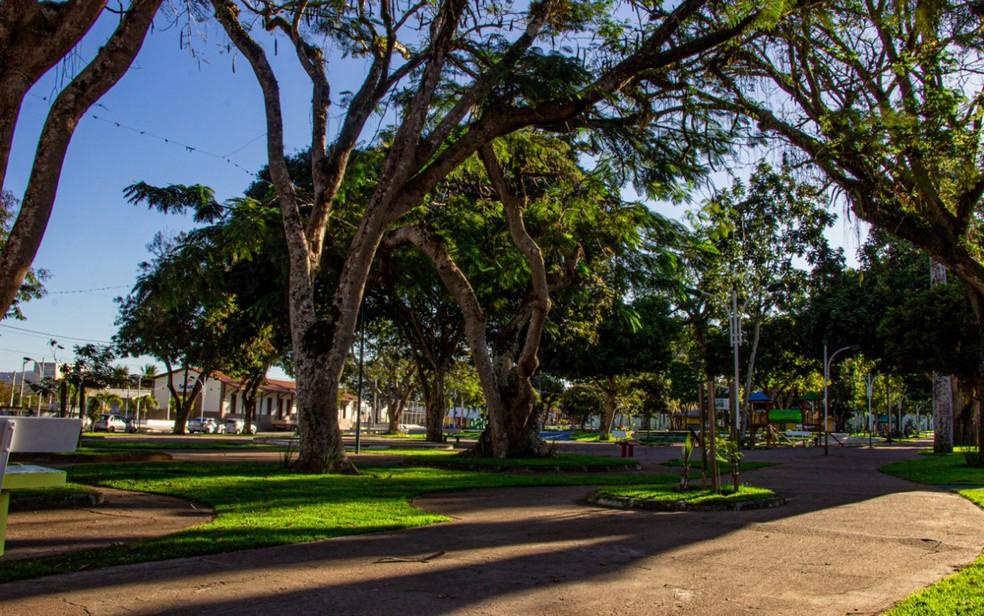 Área da praça do Bosque, em Amargosa, onde ocorre o São João — Foto: Divulgação/Prefeitura de Amargosa