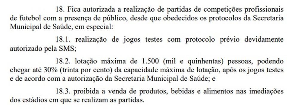 Decreto autoriza a volta de público aos estádios em Goiânia — Foto: Reprodução/Diário Oficial do Município
