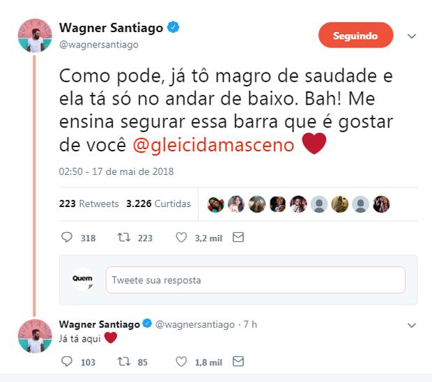 Wagner Santiago fala sobre romance com Gleici (Foto: Reprodução)