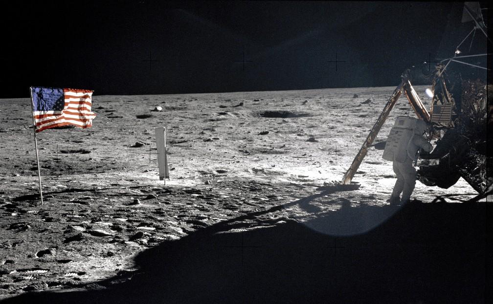 Neil Armstrong na Lua em 1969 — Foto: Nasa/Divulgação