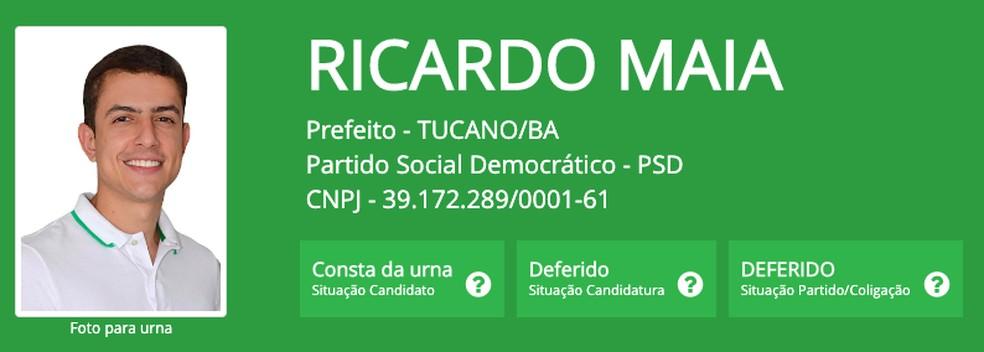 Ricardo Maia (PSD), prefeito eleito em Tucano (BA), um dos três mais jovens do Brasil — Foto: Reprodução