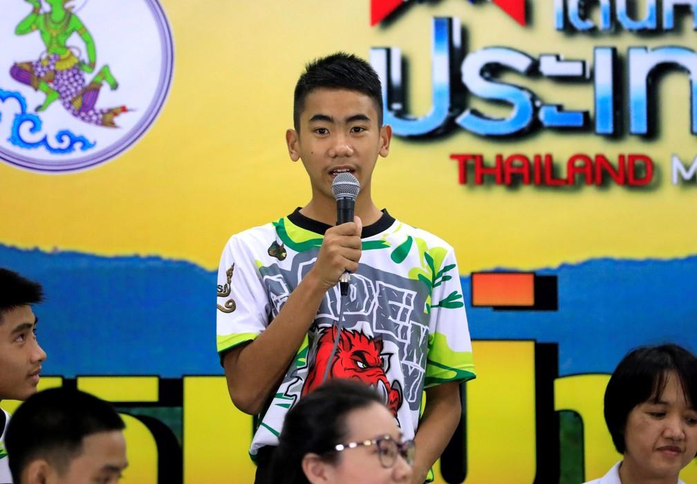 Prajak Sutham, garoto resgatado de caverna na Tailândia (Foto: Reuters/Soe Zeya Tun)