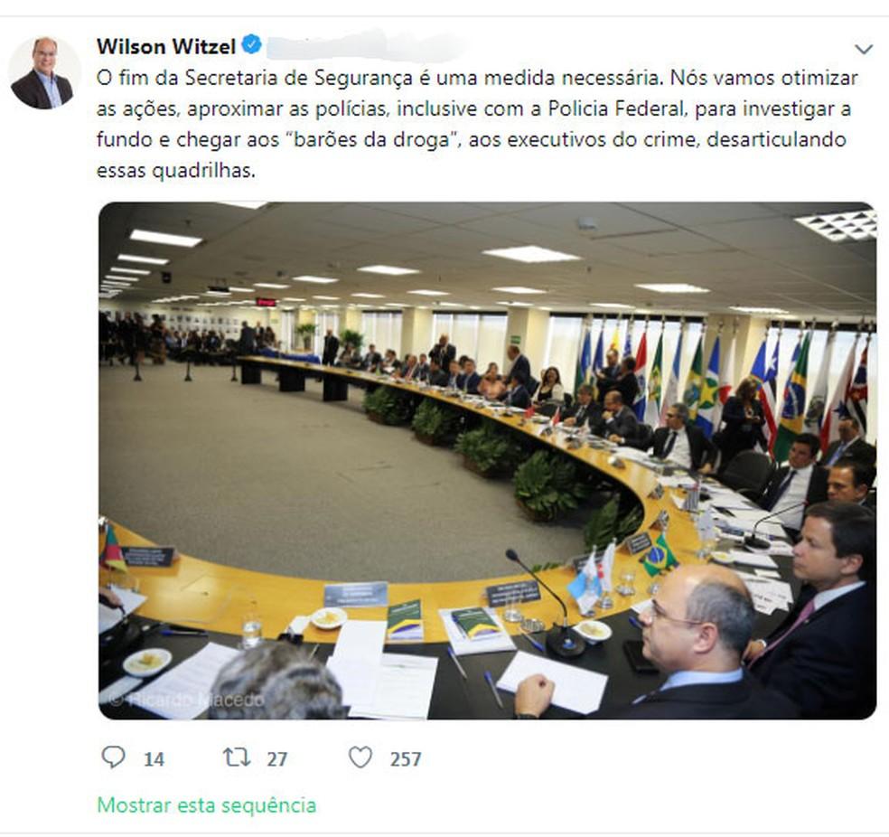 52affd27d3 ... Governador eleito reafirmou extinção da secretaria de Segurança Pública  do Rio — Foto: Reprodução /