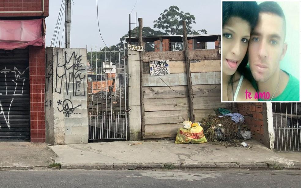 Casa onde crime ocorreu em agosto de 2017; no alto à direita está uma foto do casal Laniele Silva e Marcelo Azevedo (Foto: Kleber Tomaz/G1 e Reprodução/Redes Sociais)