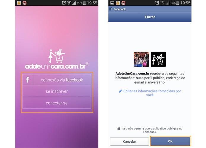 Faça o login pelo cadastro ou conecte com o Facebook (Foto: Reprodução/Barbara Mannara)