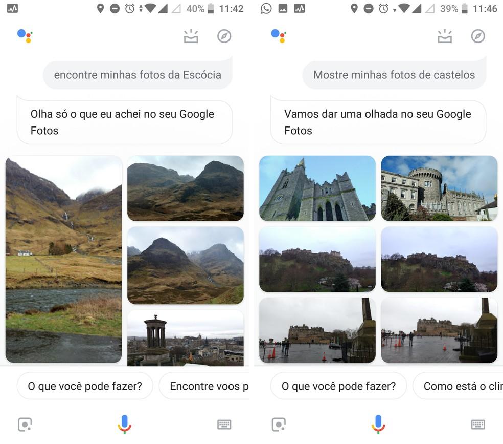 Encontre fotos de seu acervo pessoal do Google Fotos com a integração à Assistente — Foto: Reprodução/Isabela Cabral