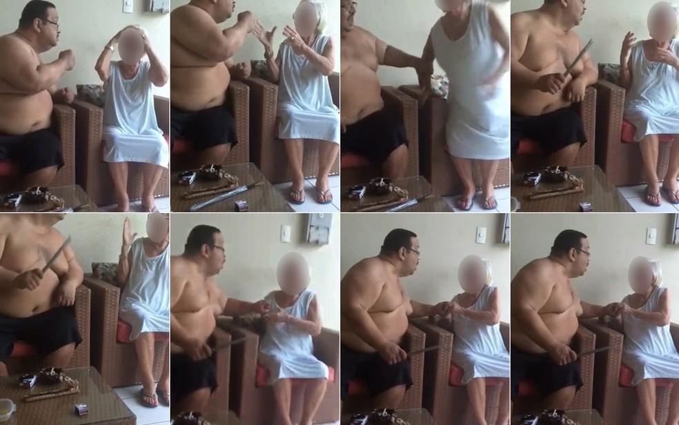 Idosa de 84 anos é agredida pelo próprio filho no Maranhão — Foto: Reprodução/Montagem