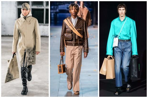 Alyx, Louis Vuitton e Balenciaga estão entre as marcas que apostaram nas bolsas de mão na última temporada (Foto: divulgação)