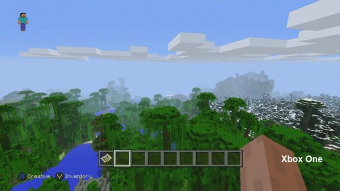 Minecraft no Xbox One e PlayStation 4 tem mundos maiores e permite enxergar mais longe (Foto: Reprodução/Eurogamer)