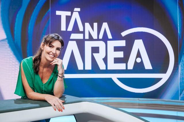 Glenda Kozlowski no cenário do 'Tá na área', do SporTV (Foto: Rodrigo Castro)