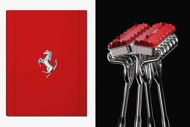 Costurado à mão e encadernado em couro vermelho, vem em uma caixa de alumínio criada por Marc Newson, inspirada nas tampas de válvulas de um motor V12 Ferrari (Foto: divulgação)