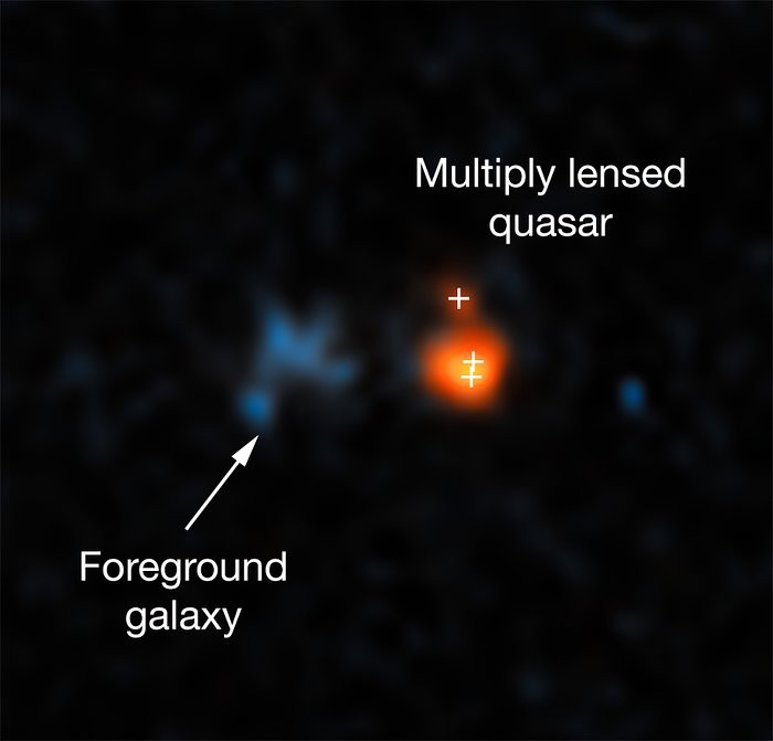 Imagem mostra o quasar  J043947.08+163415.7 e lentes gravitacionais (Foto: NASA, ESA, X. Fan (University of Arizona))