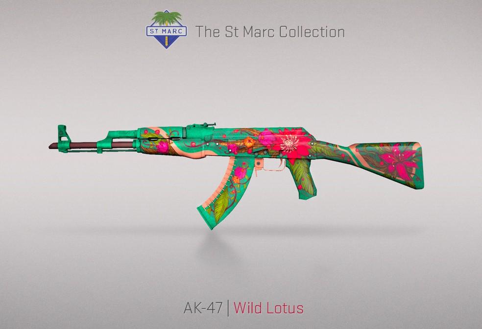 A skin Wild Lotus da AK-47 está sendo comercializada por mais de R$ 7 mil — Foto: Divulgação/Valve