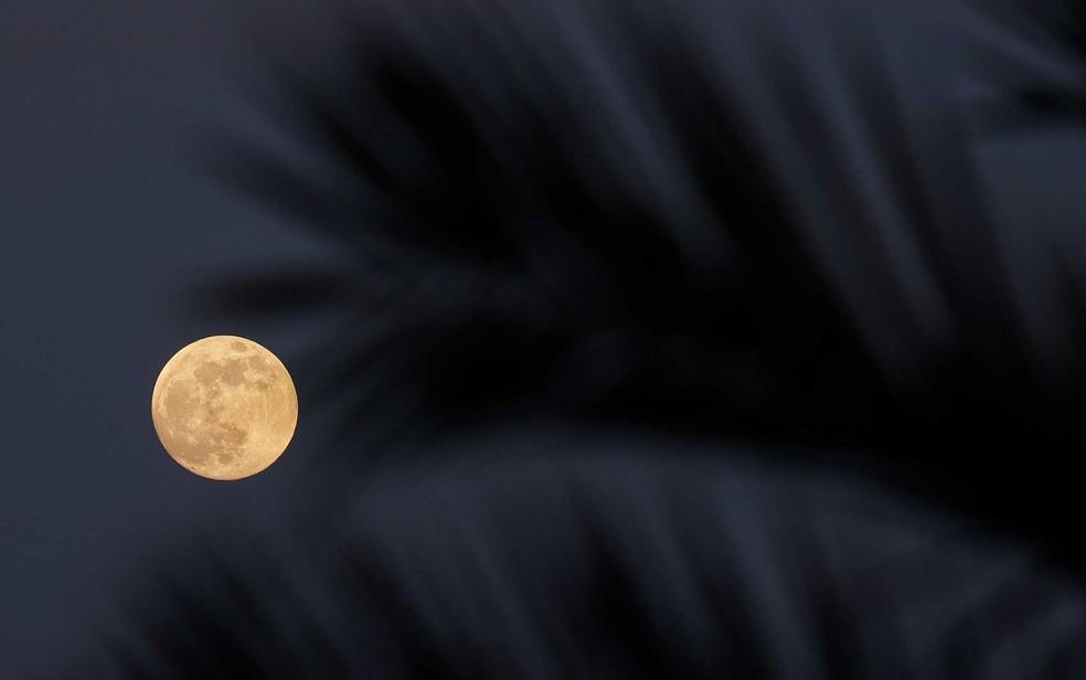A lua cheia surgindo sobre o Mar Mediterrâneo vista de Ibiza — Foto: AFP Photo