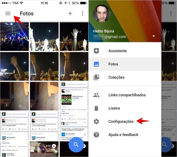 Acesse as configurações do Google Fotos (Foto: Reprodução/Helito Bijora)