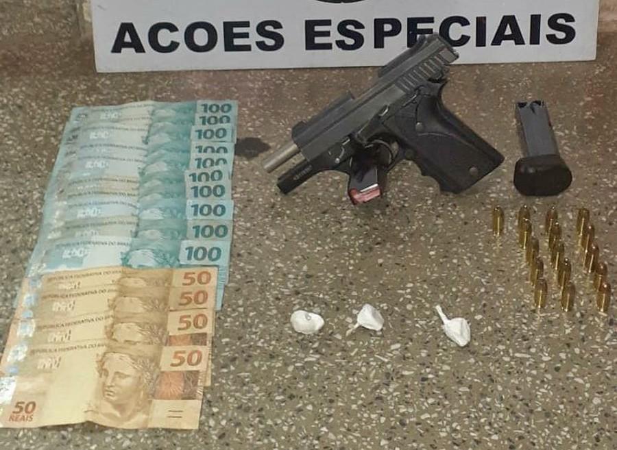 Após abordagem em Presidente Prudente, Polícia Militar apreende pistola, munições e cocaína