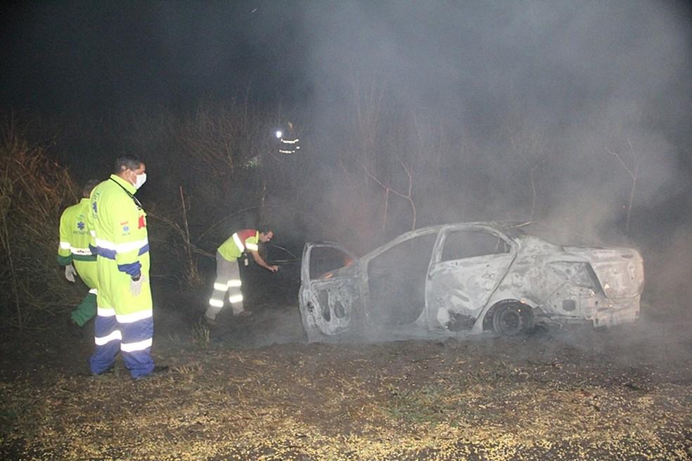 Não há registros de feridos no acidente. — Foto: Corpo de Bombeiros - MT