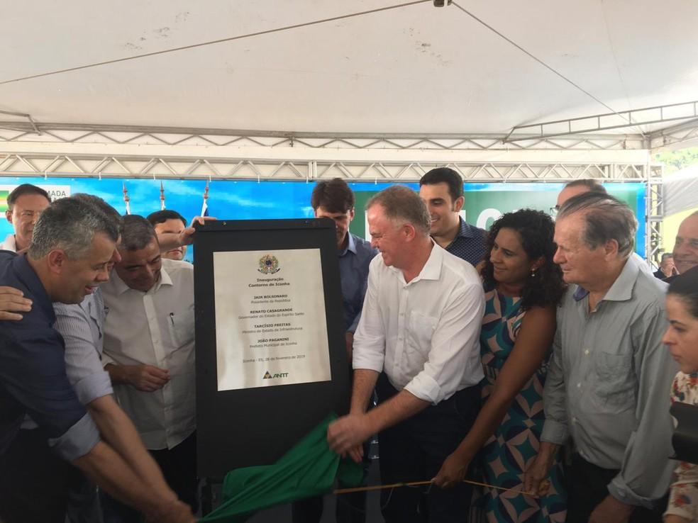 Rodovia do Contorno de Iconha, no ES, é inaugurada no ES — Foto: Reprodução/TV Gazeta