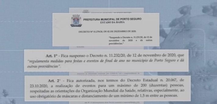 Prefeitura de Porto Seguro suspende decreto que libera realização de festas de fim de ano