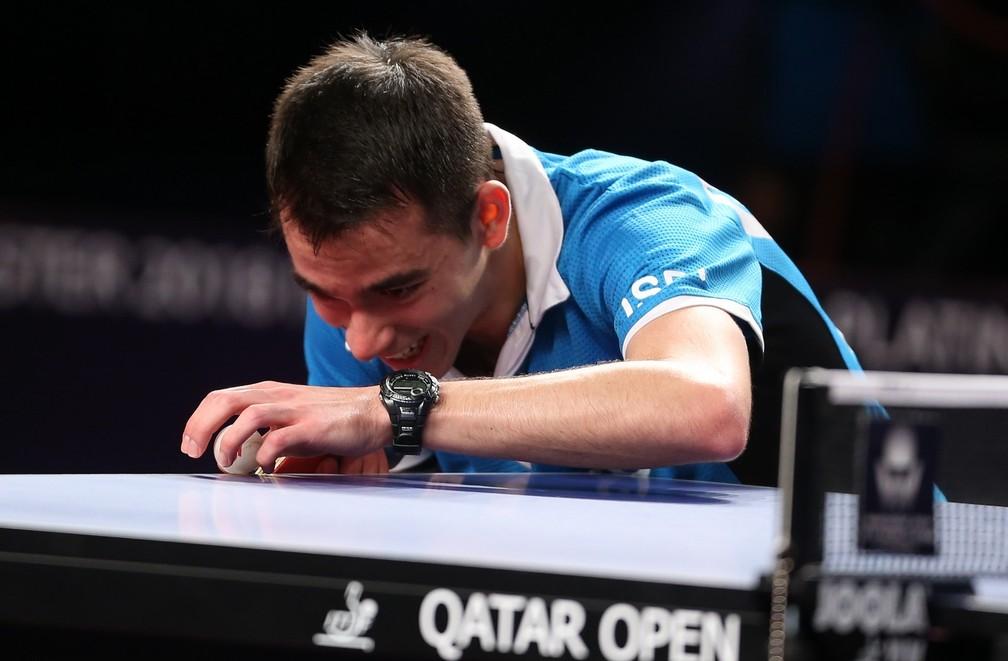 Hugo Calderano em ação no Aberto do Catar, em Doha (Foto: Divulgação/ITTF)