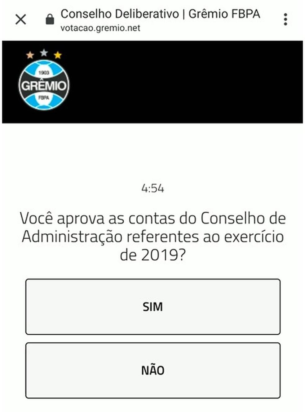 Votação sobre contas do Grêmio de 2019 será via aplicativo — Foto: Arquivo Pessoal