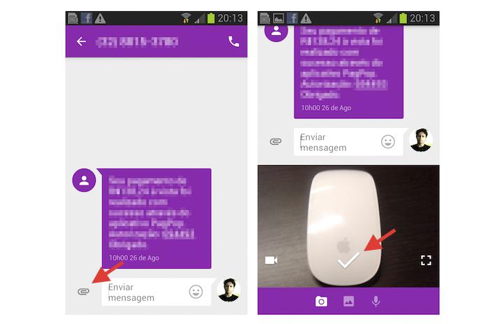Acessando a ferramenta de envio de arquivos de mídia do aplicativo Messenger do Google (Foto: Reprodução/Marvin Costa)