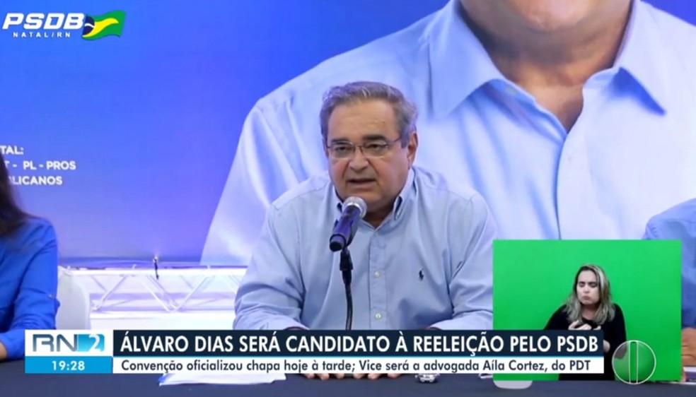 PSDB oficializa candidatura de Álvaro Dias à Prefeitura de Natal — Foto: Reprodução/Inter TV Cabugi
