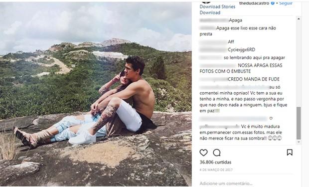 Comentários de seguidores de Duda Castro (Foto: Reprodução/Instagram)