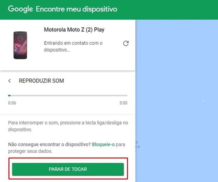 O Google permite que o dispositivo toque por até cinco minutos (Foto: Reprodução/Taysa Coelho)