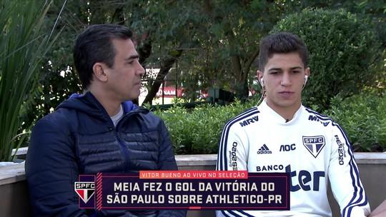 """Vitor Bueno fala do momento do São Paulo e segura a empolgação: """"Temos que deixar a euforia de lado"""""""
