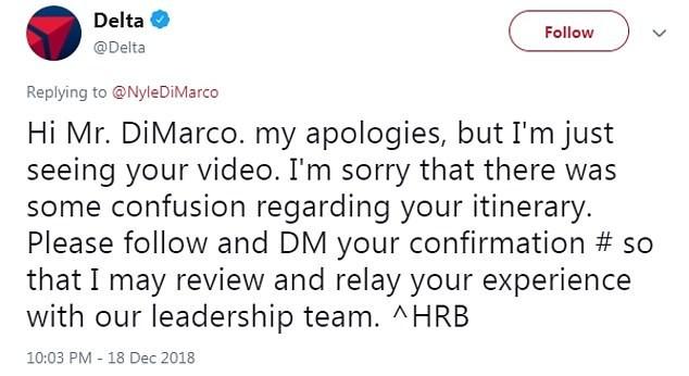 O pedido de desculpas da companhia aérea ao modelo americano Nyle DiMarco (Foto: Twitter)