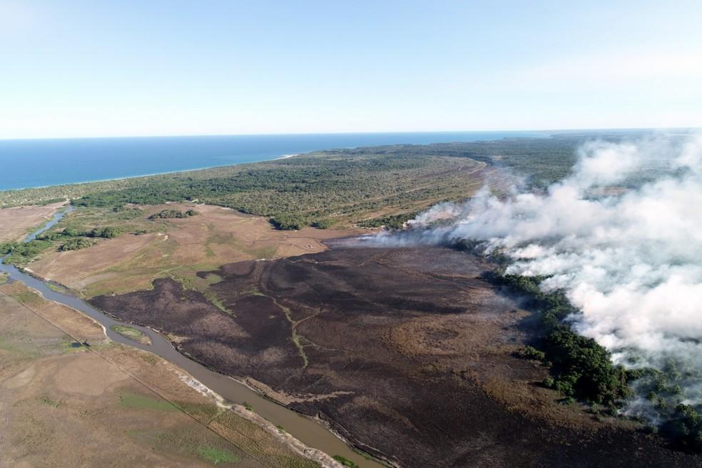 Incêndio em Trancoso, no sul da Bahia — Foto: Divulgação/Corpo de Bombeiros