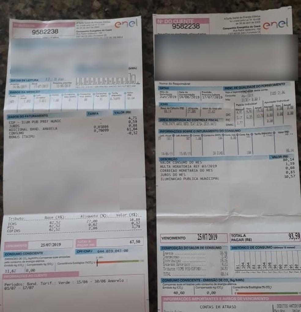 Consumidores do Ceará reclamaram de receber duas contas de energia no mesmo mês. — Foto: Arquivo Pessoal