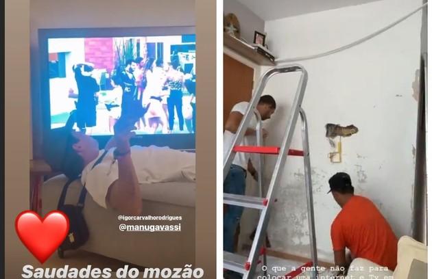 Igor Carvalho, namorado de Manu Gavassi, reformou a parede para instalar TV e internet e conseguir acompanhá-la no 'BBB' (Foto: Reprodução/Instagram)