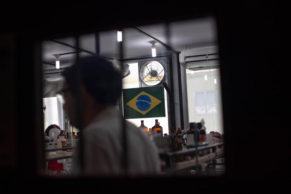 Bandeira do Brasil em centro de pesquisa na UFRJ — Foto: Mauro Pimentel/AFP