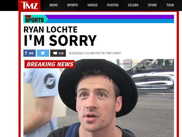 Pedido de desculpas de Ryan Lochte repercutir na imprensa internacional (Foto: Reprodução/TMZ)