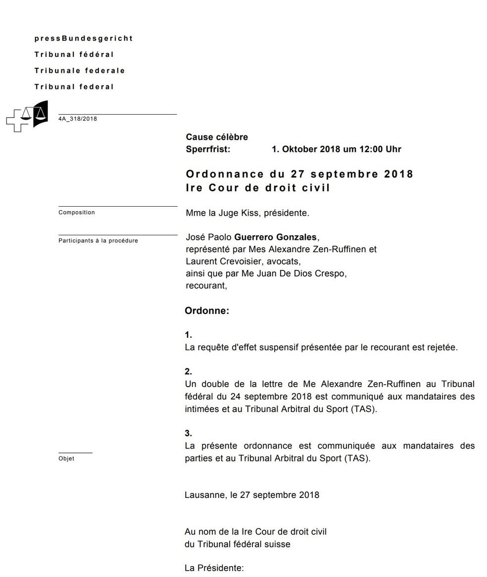Decisão da Justiça Federal Suíça, em francês, que rejeitou o pedido de efeito suspensivo de Guerrero — Foto: Reprodução/Justiça Federal Suíça