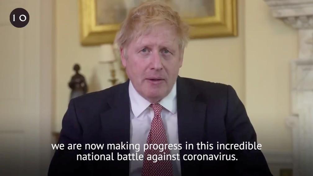 Primeiro-ministro britânico, Boris Johnson, em pronunciamento após ter alta da internação devido ao novo coronavírus — Foto: Twitter/@BorisJohnson via Reuters
